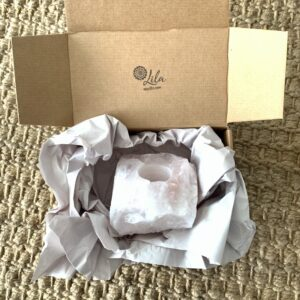 portavelas de cuarzo rosa en caja para regalo